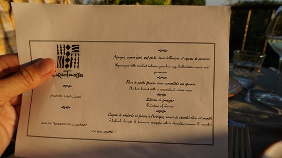 Cuq Toulza, France: Example of dinner menu