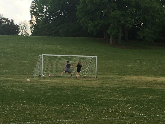 Montevallo, AL: The older kiddos enjoyed playing with the soccer goals that were set up!