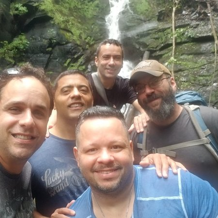 The guys and our expert guide at the Delaware Water Gap, Waterfall