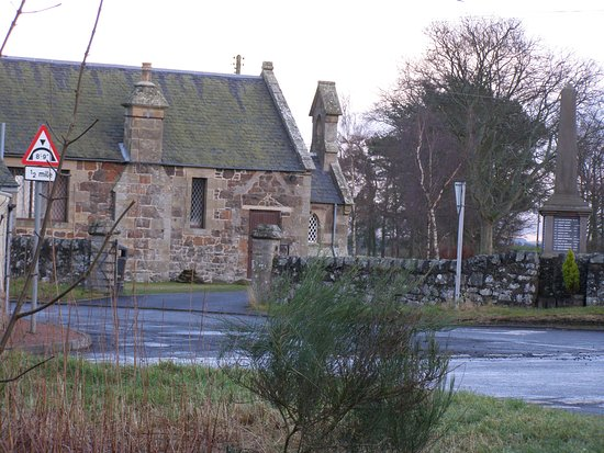 Giffordtown Village Hall: The main gateway, showing the former GIRLS school door, now used for accessible entry.