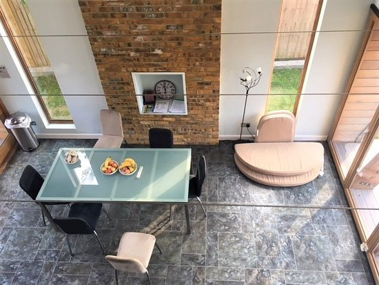 Little Hallingbury, UK: View of shred kitchen from shared living room