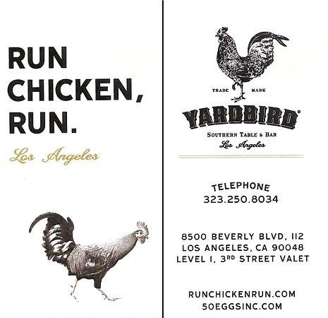 Yardbird - Southern Table & Bar: Targeta