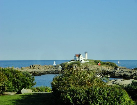 Cape Neddick Nubble Lighthouse: from our patio if the View Point Inn