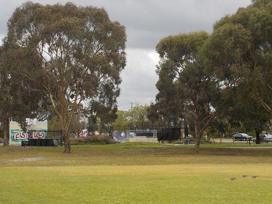 Reservoir, Australia: Skate park past the trees