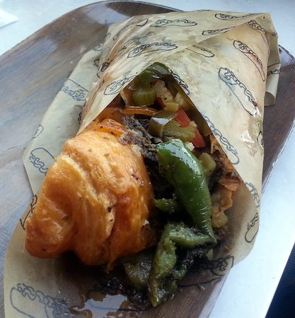 Harwood Heights, IL: beef & cheddar croissant with sweet & hot peppers and baptized