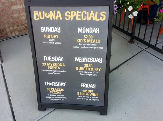 Harwood Heights, IL: board with Buona Specials
