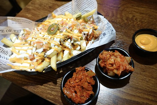Canterbury, Australia: Loaded fries with kimchi and hot sauce