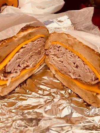 Best Bagel and Coffee: Turkey & Cheddar on Sesame