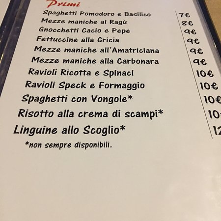 Montelibretti, إيطاليا: Menù