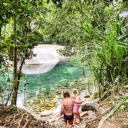 Babinda Boulders: The kids walking into one of the more secluded swimming holes found one the walking trails. AMAZ