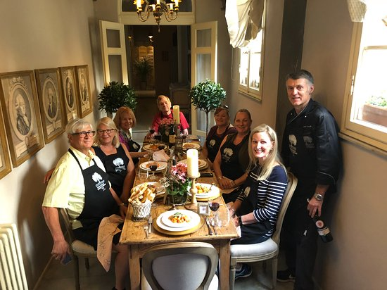 Extra Virgin Cooking Classes: Enjoying our creations in a beautiful dining room