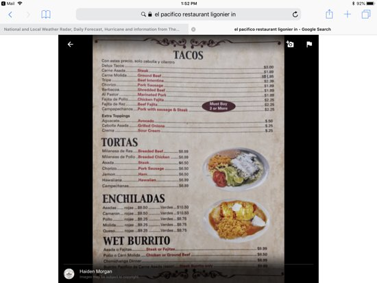 Ligonier, IN: Menu photo, just one page, my favs....tacos & enchiladas