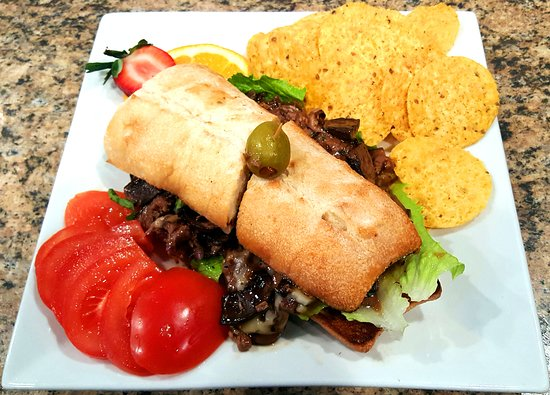 Linwood, NJ: Angus Beef Sandwich with sauteed mushrooms & onions