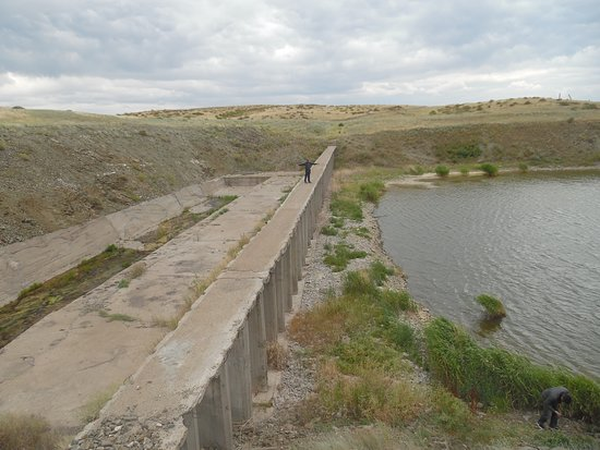East Kazakhstan Province, Kasachstan: damn of chagan river - a few minutes from lake