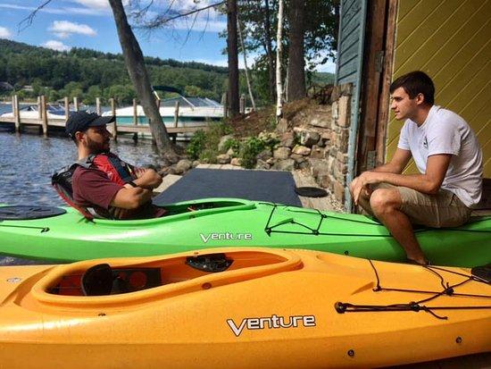 Lake George Kayak Co.: Staff member (R) giving kayak instructions