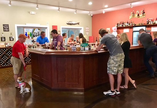 Baxter, TN: Here is my husband and dog at the end of the wine bar, enjoying a tasting.