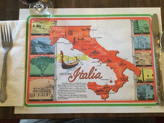 Old school placemat with map of Italy - Picture of Ristorante ...