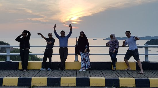 Barelang Bridge: Together at sunset on the bridge