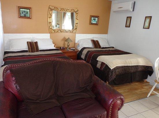 Shefford, Canada: Studio de luxe: 1 lit queen, 1 lit double, causeuse en cuir, cuisinette balcon vue sur le lac