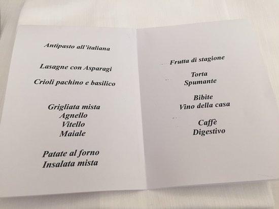 San Giuliano del Sannio, Italien: Our menu