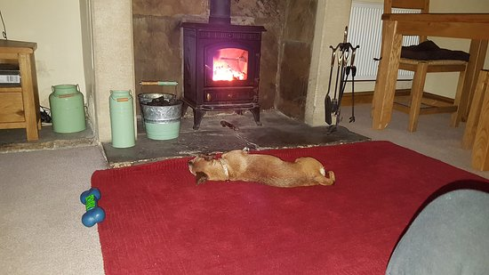 Oxenhope, UK: Enjoying the log burner.