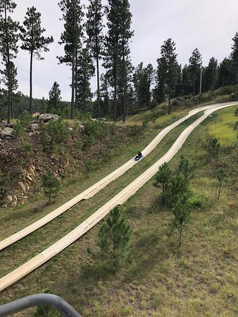 Rushmore Tramway Adventures : Looking down onto the alpine slide from the chair lift