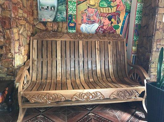 Nebaj, جواتيمالا: Unique carved furniture.