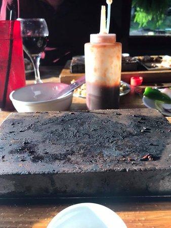 Trails End Lodge: the lava stone...steak all gone Mmmmm
