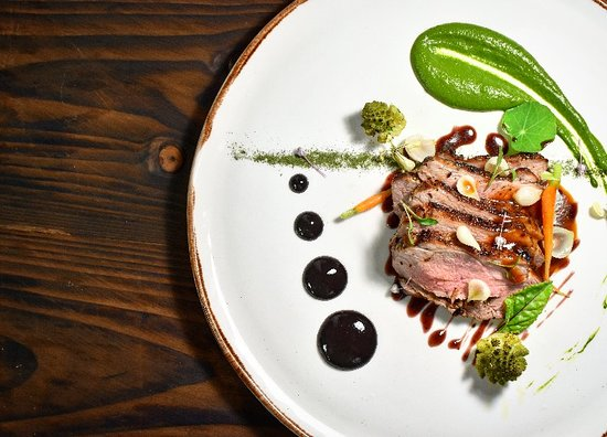 Ballymahon, Ireland: Lamb Rump, Watercress Puree, Sour Cherry, Pickled Pearl Onions, Wild Blueberry Vinaigrette