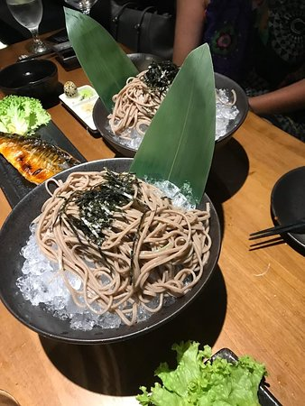 Cha(?) Soba. The menu lists Cha Soba, but our dish had buckwheat noodles. Ask the server!