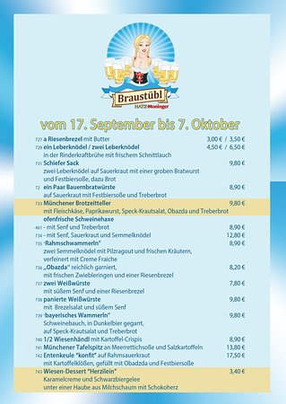 Unsere Oktoberfest Karte Picture Of Braustubl Hatz Moninger