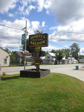 Minerva, NY: Main sign... biker friendly