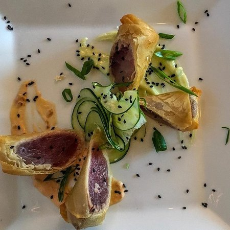 Skopelos at New World: Tuna egg roll appetizer