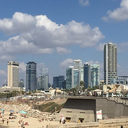 Migdal Shalom Tower: It's the white building on the left- no longer the tallest building in the Middle East