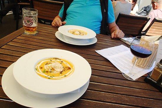 Enjoy the creamy pumpkin soup, it is not only beautiful