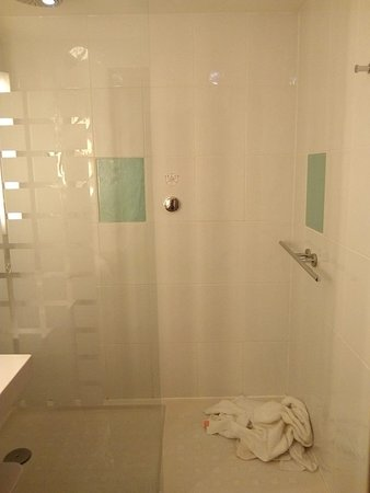 """Weird shower control and wet towels caused by bad """"cubicle"""" design."""