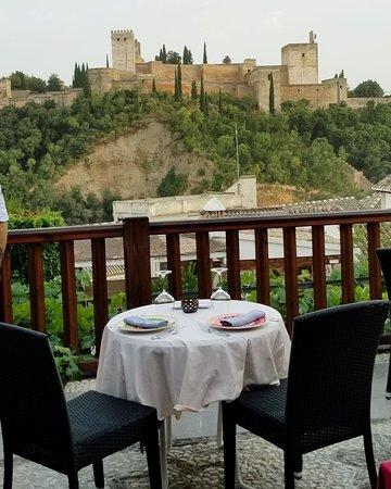 Carmen de Aben Humeya: Table on terrace at Carmen When de Humeya