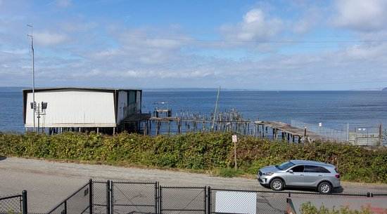 Edmonds, WA: View of the old wharf, pier and building.