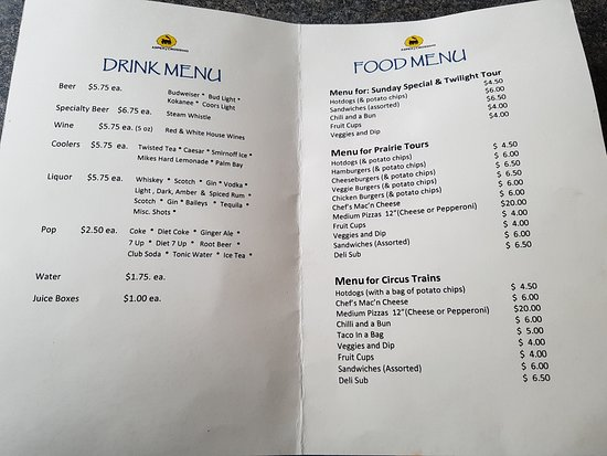 Mossleigh, Canadá: Prairie train tour-menu