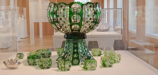 White Mills, PA: Cut glass punch bowl and cups