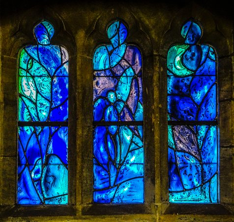 One of the windows designed by Marc Chagall in All Saints Church in Tudeley