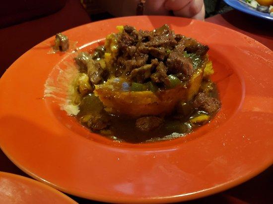 Yauco, Puerto Rico: mofongo stuffed with skirt steak with mushroom sauce