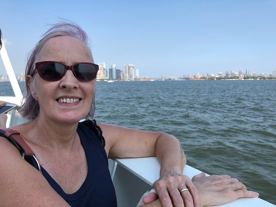 Statue Cruises: Karen enjoys the breeze