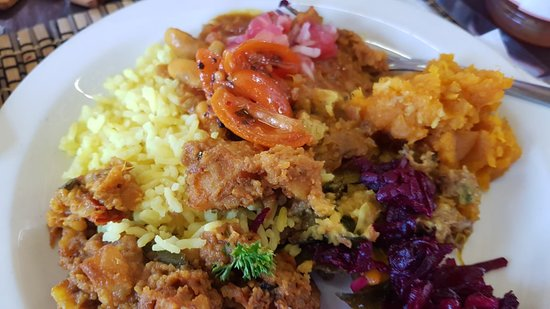 Van Reenen, Νότια Αφρική: Vegan Curry feast specially prepared for us by the owner Shamane