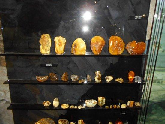 Amber Museum-Gallery: Bärnstenar innanför glasmonter.