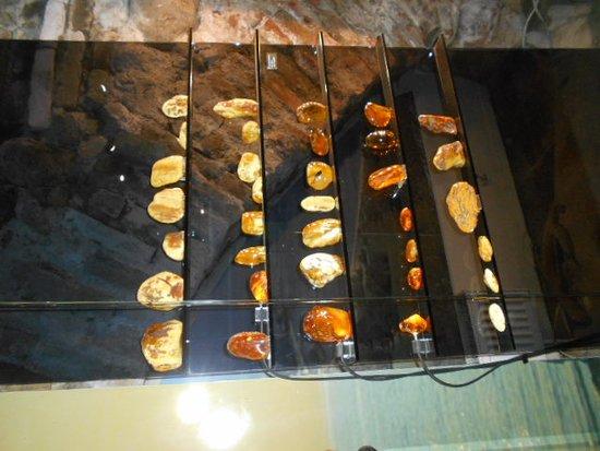Amber Museum-Gallery: Olikfärgade bärnstenar.
