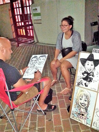 Old Town Waterfront: Caricature drawing down behind the Torpedo Factory art center, Old Town