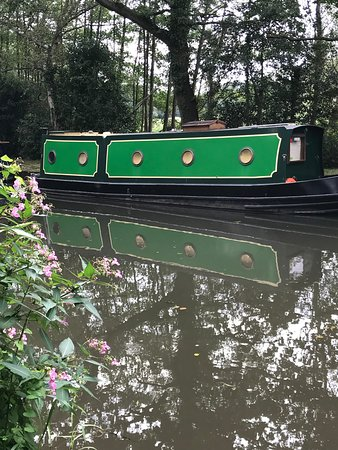 Narrow boat on the Wey canal near Pyrford Lock, Wisley