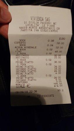 Monte Argentario, Ιταλία: scontrino