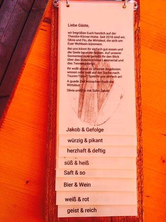 Annaberg-Lungotz, Austria: Speise und Getränkekarte